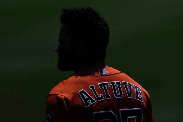 Houston Astros' Jose Altuve stands on the field before the baseball game against the Toronto Blue Jays in Buffalo, N.Y., Sunday, June 6, 2021. (AP Photo/Joshua Bessex) Photo: Joshua Bessex, Associated Press / Copyright 2021 The Associated Press. All rights reserved