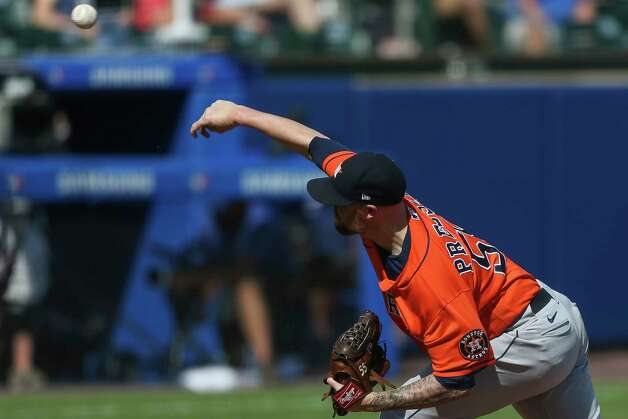Houston Astros relief pitcher Ryan Pressly (55) throws during the ninth inning of a baseball game against the Toronto Blue Jays in Buffalo, N.Y., Sunday, June 6, 2021. (AP Photo/Joshua Bessex) Photo: Joshua Bessex, Associated Press / Copyright 2021 The Associated Press. All rights reserved
