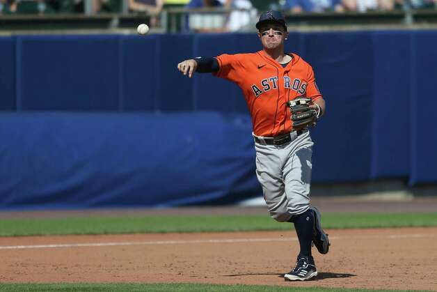 Houston Astros third baseman Alex Bregman throws to first base to get out Toronto Blue Jays' Marcus Semien for the final out of a baseball game in Buffalo, N.Y., Sunday, June 6, 2021. (AP Photo/Joshua Bessex) Photo: Joshua Bessex, Associated Press / Copyright 2021 The Associated Press. All rights reserved