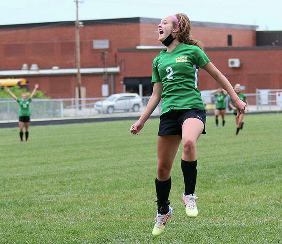 Southwestern sophomore Ali Wilson reacts after scoring a goal with two seconds left in the first half against Carlinville in a Class 1A regional semifinal game in Piasa. Wilson scored three goals in the Piasa Birds loss and ended her sophomore season with 38 goals.