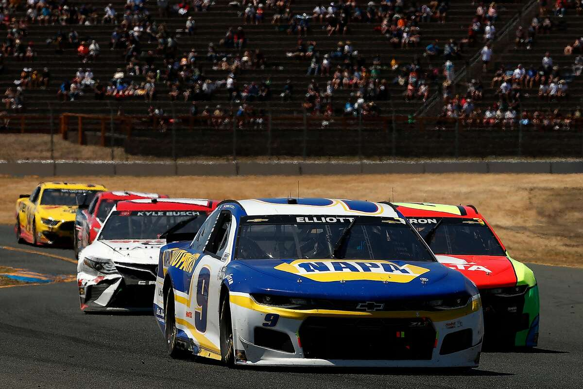 Chase Elliott leads the field during the NASCAR Cup Series Toyota/Save Mart 350 at Sonoma Raceway on Sunday.