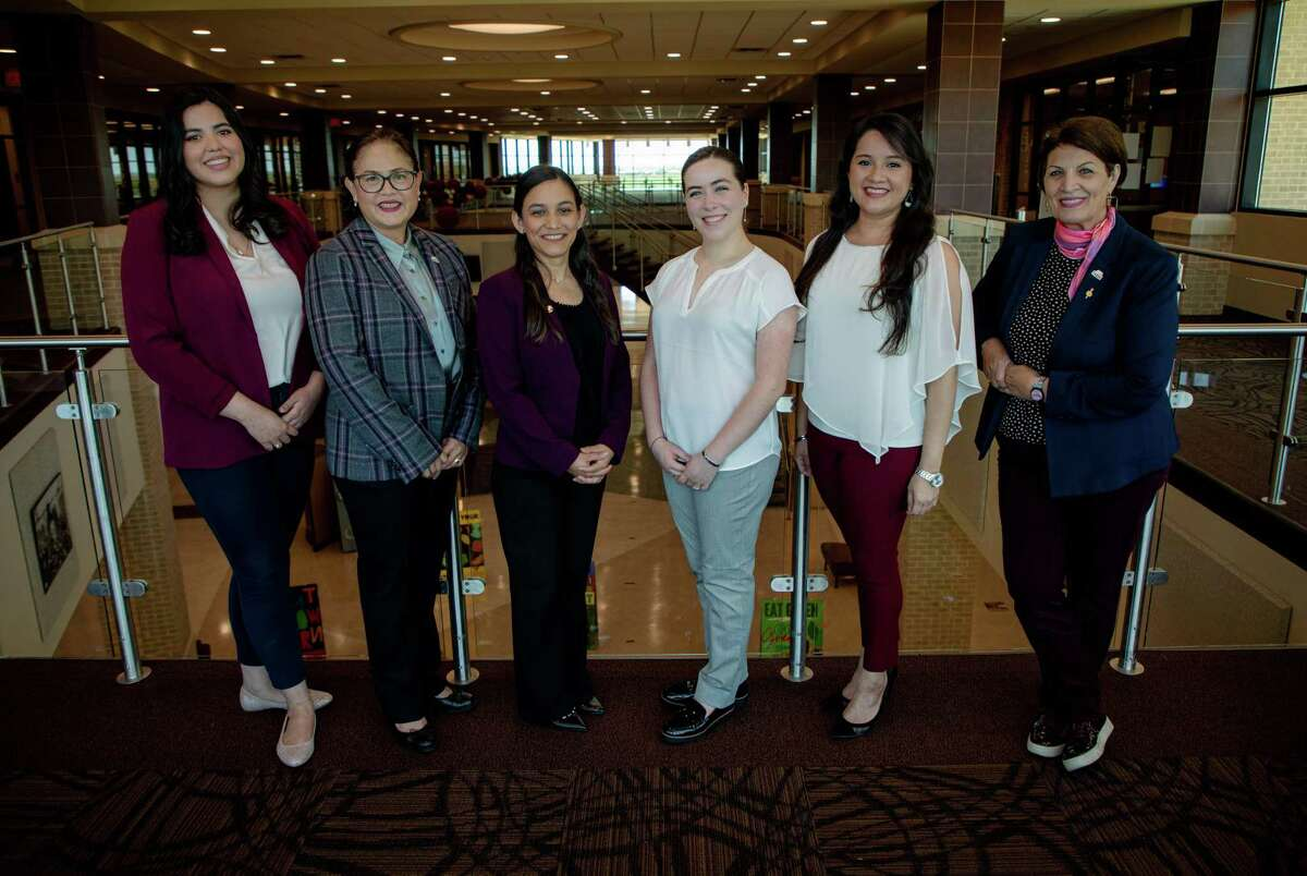 For the second year in a row, women are leading TAMIU's Faculty Senate, Staff Senate and Student Government Association. Pictured from left are Mariana Rodriguez, Dr. Maria de Lourdes Viloria, Cihtlalli Perez, Lourdes Boardman, Ana Maria Vargas and Dr. Lola Norris.