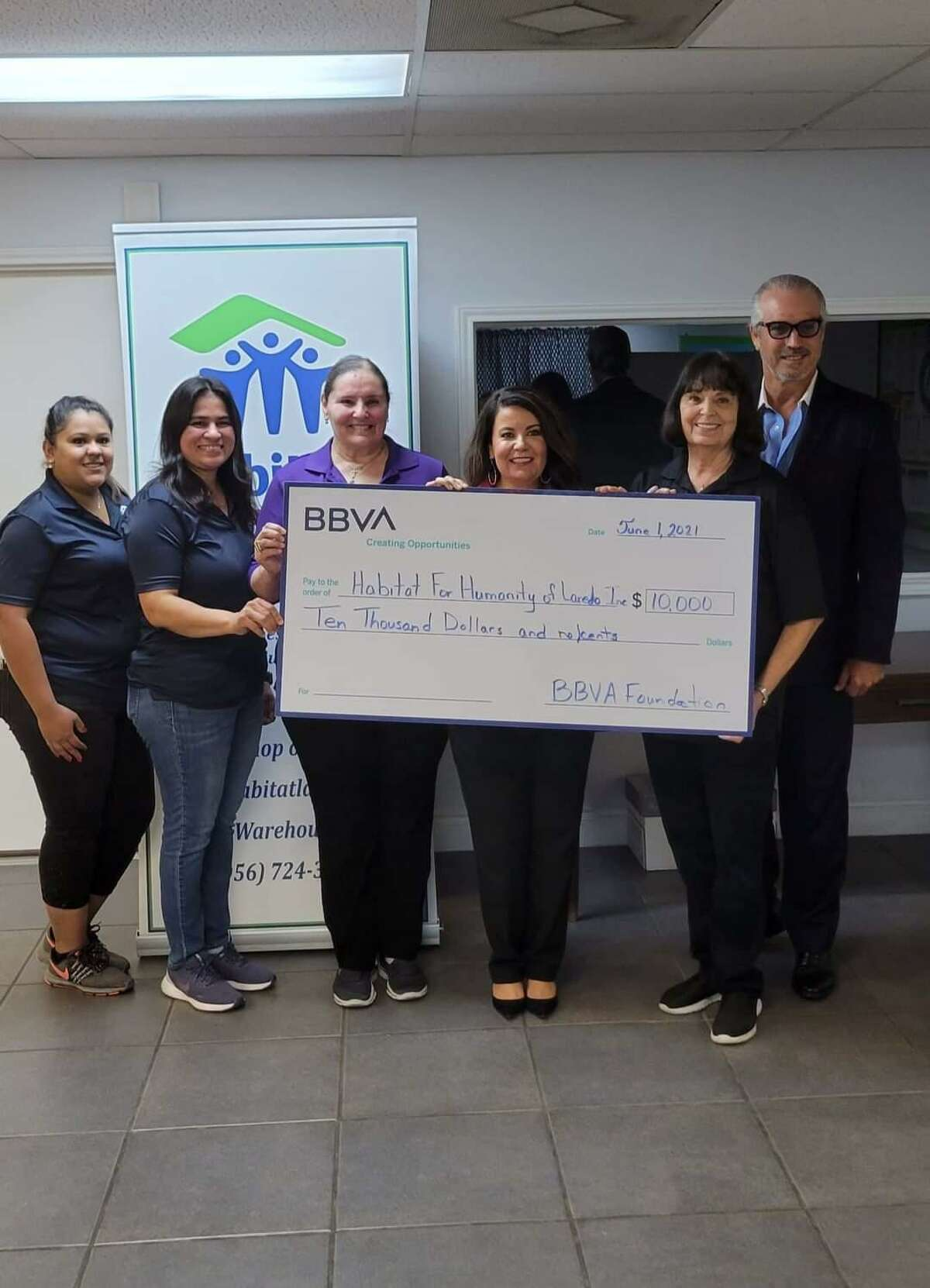 Habitat for Humanity of Laredo received a $10,000 donation Tuesday from the BBVA Foundation. The funds will be used to support an upcoming Women Build Day.