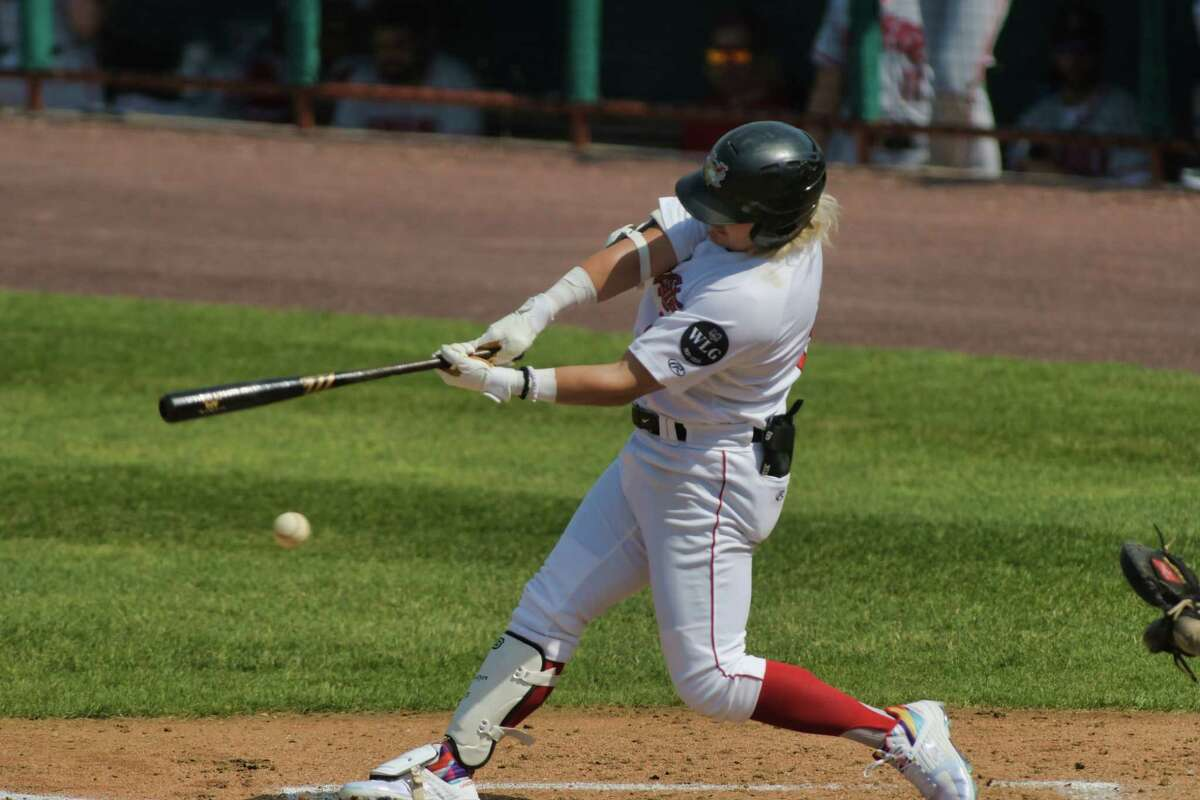 Chris Kwitzer of the ValleyCats takes a swing at a pitch during their game against New Jersey on Sunday, June 6, 2021, in Troy, N.Y. (Paul Buckowski/Times Union)