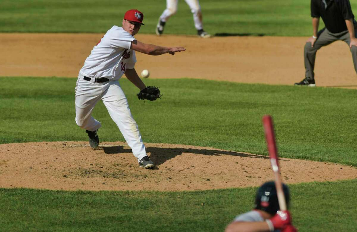 Jake Dexter, pitcher for the ValleyCats, delivers a pitch during their game against New Jersey on Sunday, June 6, 2021, in Troy, N.Y. (Paul Buckowski/Times Union)