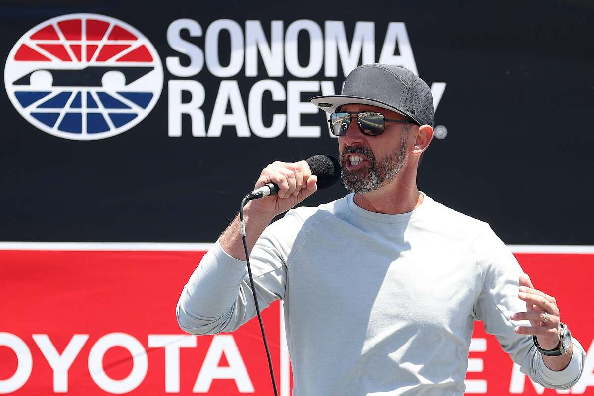 SONOMA, CALIFORNIA - JUNE 06: San Francisco 49ers head coach, Kyle Shanahan gives the command to start engine prior to the NASCAR Cup Series Toyota/Save Mart 350 at Sonoma Raceway on June 06, 2021 in Sonoma, California. (Photo by Carmen Mandato/Getty Images)