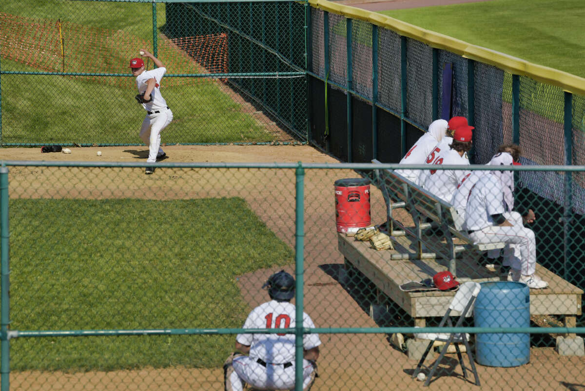 ValleyCats reliever Jake Dexter warms up prior to entering a 4-2 victory over New Jersey June 6, 2021. He pitched 1 2/3 scoreless innings, but Tri-City is still looking for bullpen help. (Paul Buckowski/Times Union)