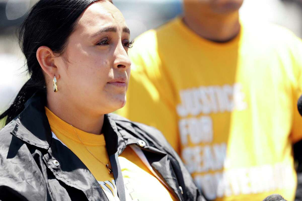 Michelle Monterrosa attends a rally for her brother, Sean Monterrosa, at San Francisco City Hall.