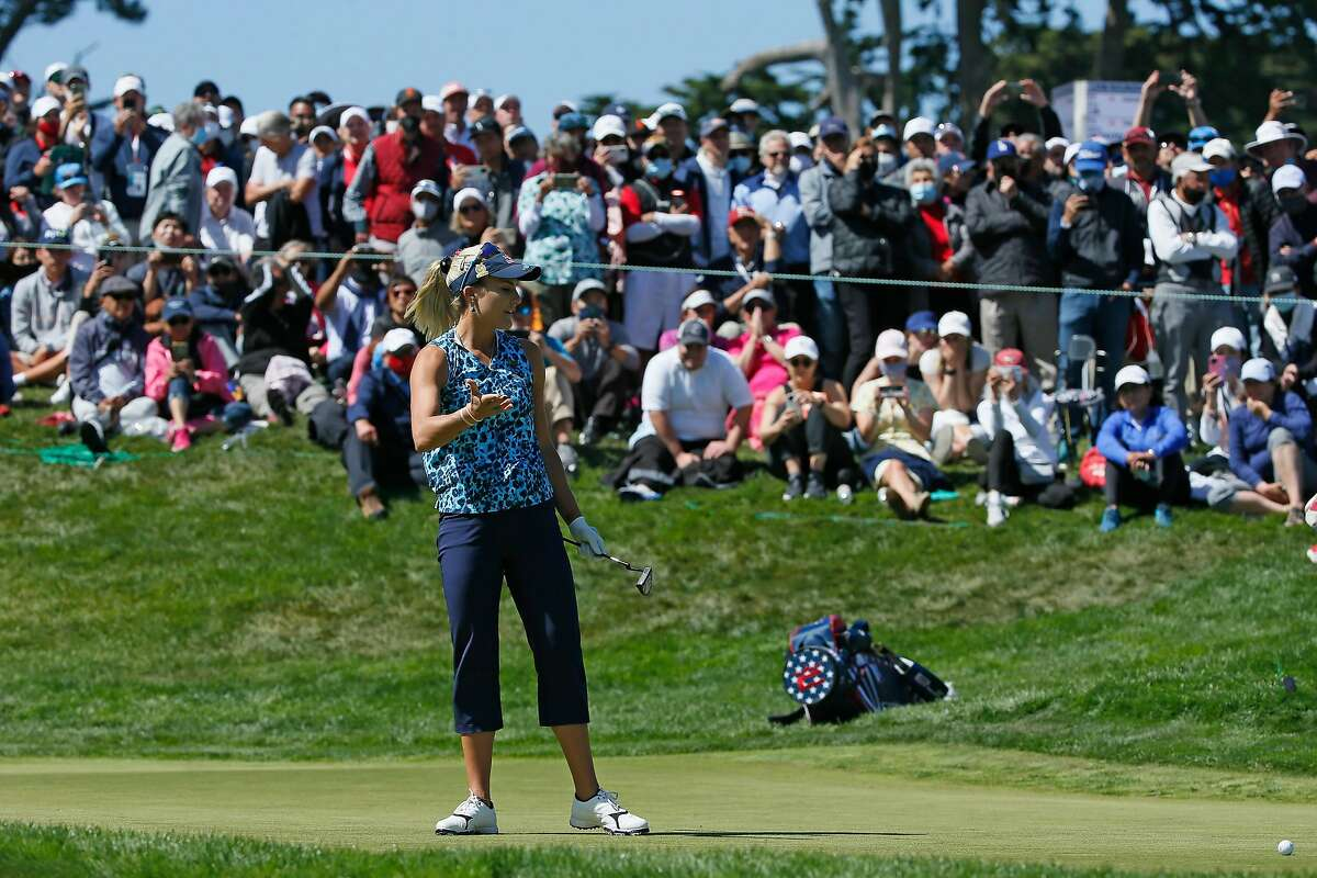 Lexi Thompson reacts after missing her putt on the 18th hole during the fourth round of the 76th U.S. Women's Open Championship held on the Lake Course at the Olympic Club, Sunday, June 6, 2021, in San Francisco, Calif.