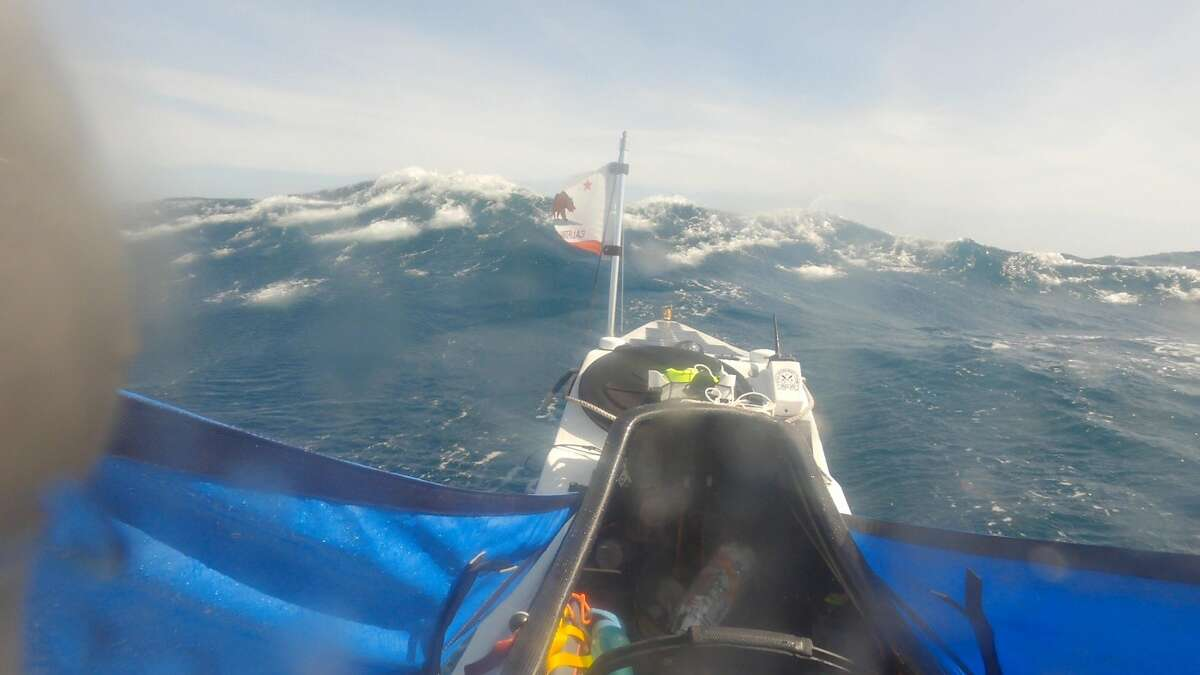 Kayaker Cyril Derreumaux faced rough conditions on the Pacific Ocean.