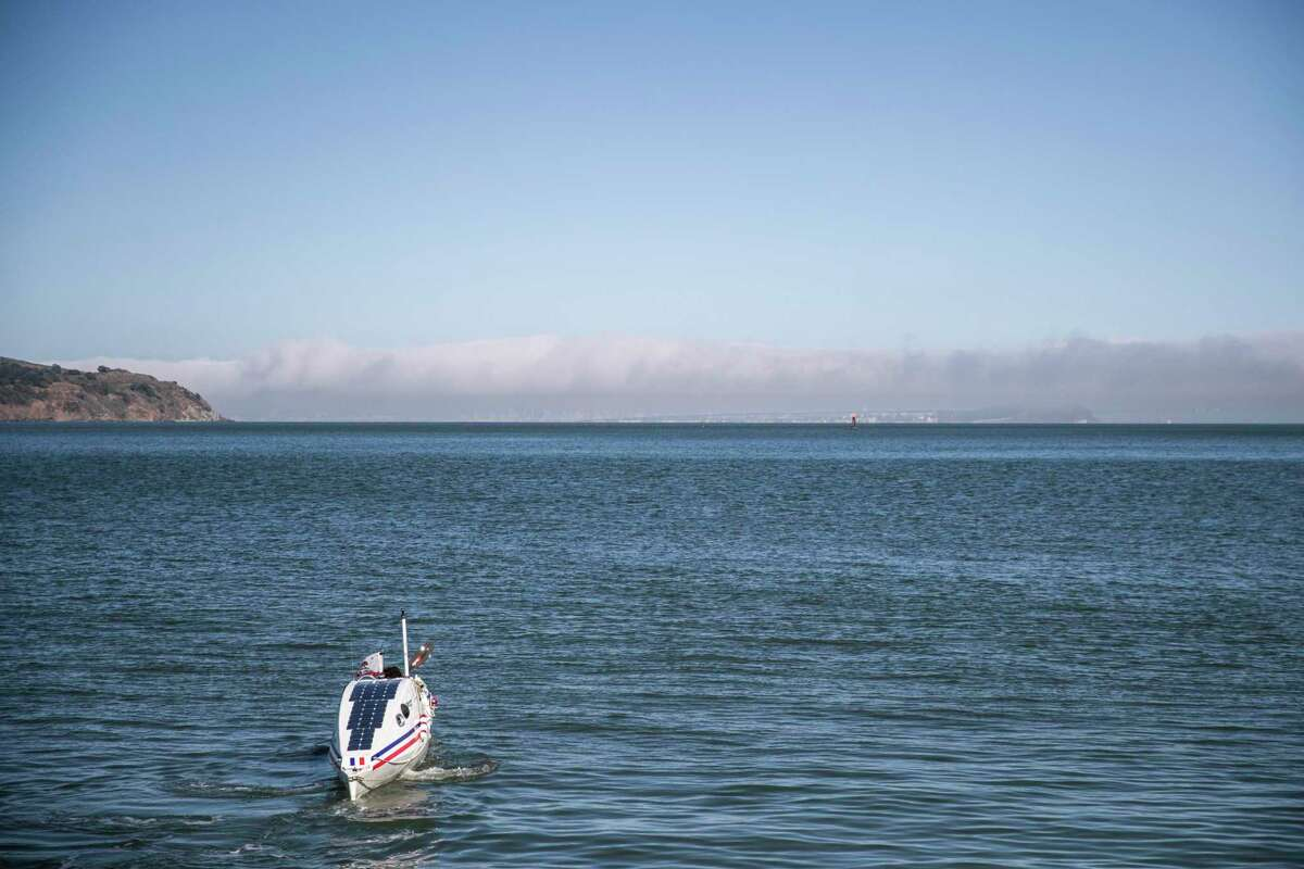 Cyril Derreumaux paddles in his custom ocean kayak in Richardson Bay in Sausalito, Calif., Wednesday, May 5, 2021. The Marin-based French-American adventurer is set to embark on a 70-day solo unsupported kayak trip from San Francisco to Honolulu, Hawaii at the end of May.