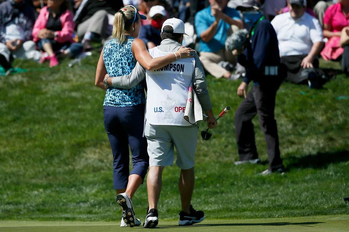 Lexi Thompson and her caddie Jack Fulghum embrace after completing the 18th hole during the fourth round of the 76th U.S. Women's Open Championship held on the Lake Course at the Olympic Club, Sunday, June 6, 2021, in San Francisco, Calif.