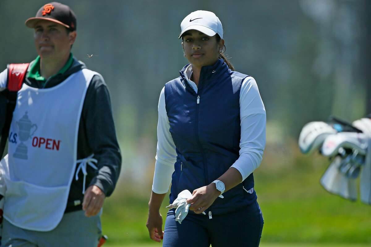 Megha Ganne (right) and her caddie Michael Finn on the fourth hole during the fourth round of the 76th U.S. Women's Open Championship held on the Lake Course at the Olympic Club, Sunday, June 6, 2021, in San Francisco, Calif.