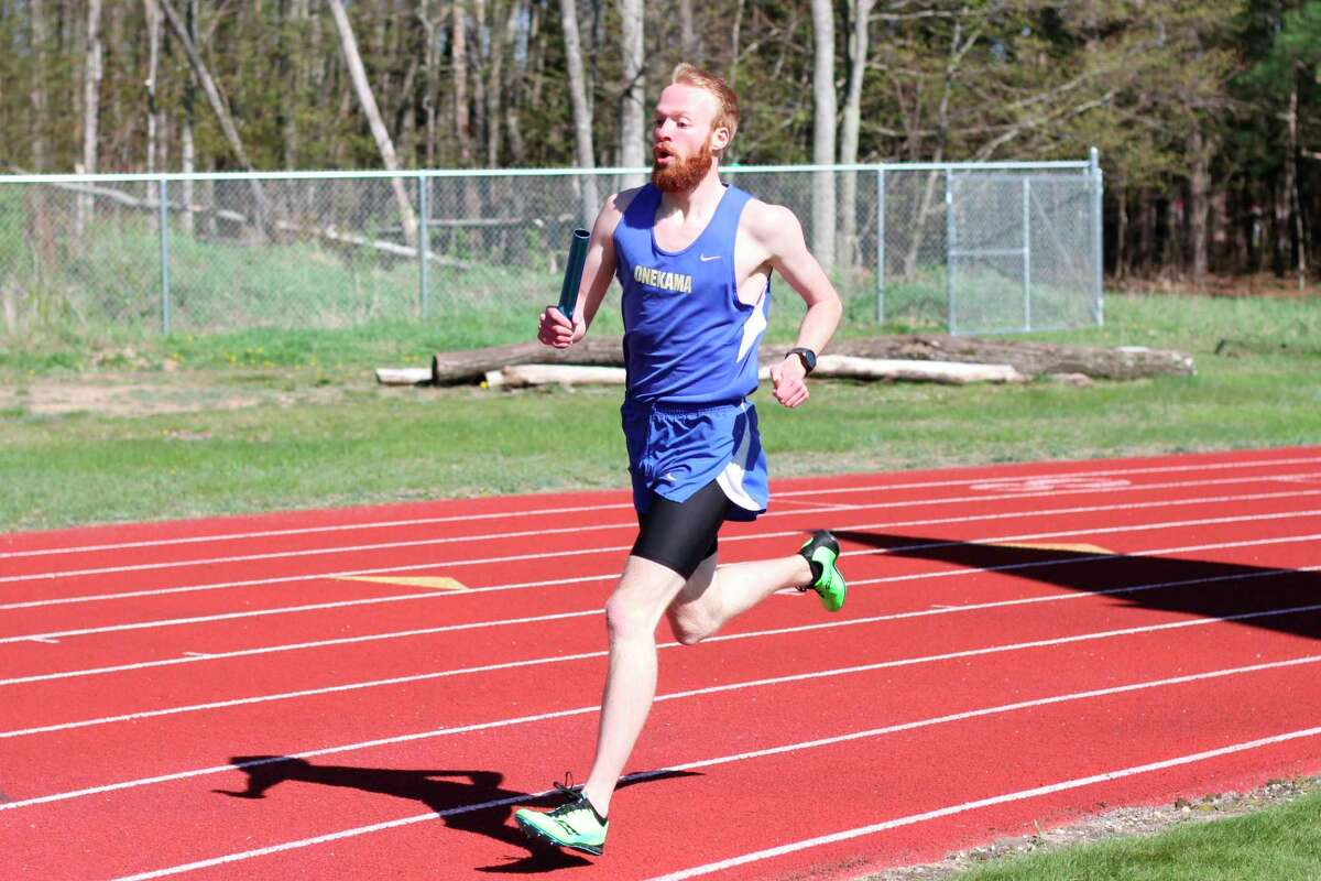 Hunter Bentley helped lead the Onekama track team's 4x800 relay to a 19th-place finish at the Division 4 state finals on Saturday in Hudsonville.