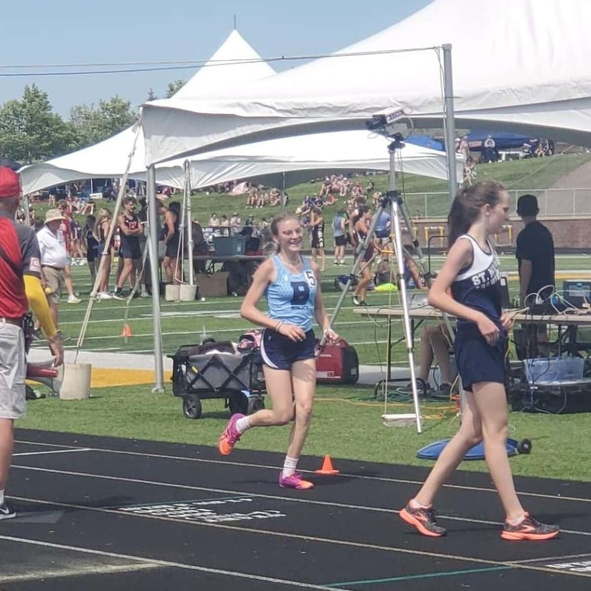 Alexis Tracy finishes the 3,200-meter run in an All-State position on Saturday in Hudsonville.