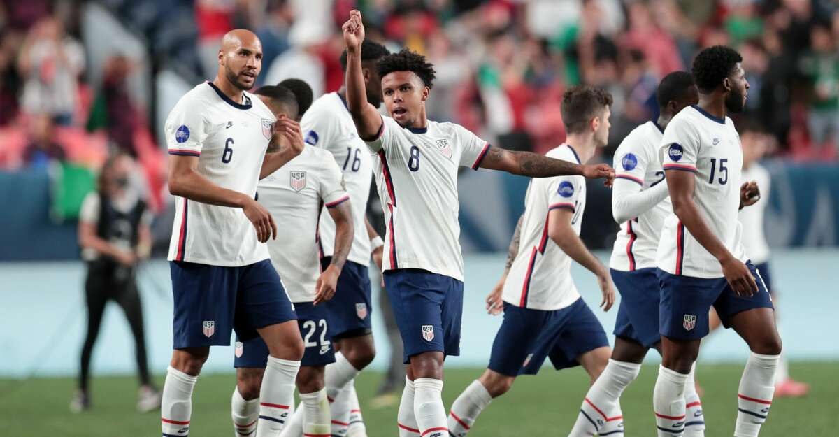 Weston McKennie #8 of the United States reacts after scoring a goal during the CONCACAF Nations League Championship Final between the United States and Mexico at Empower Field At Mile High on June 6, 2021 in Denver, Colorado. (Photo by John Dorton/ISI Photos/Getty Images)