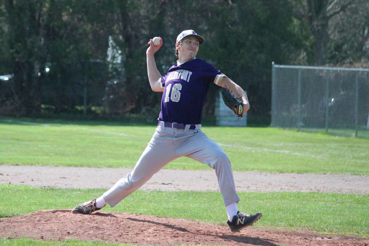Jack Stefanski pitches for Frankfort during a game earlier this season. (Record Patriot file photo)