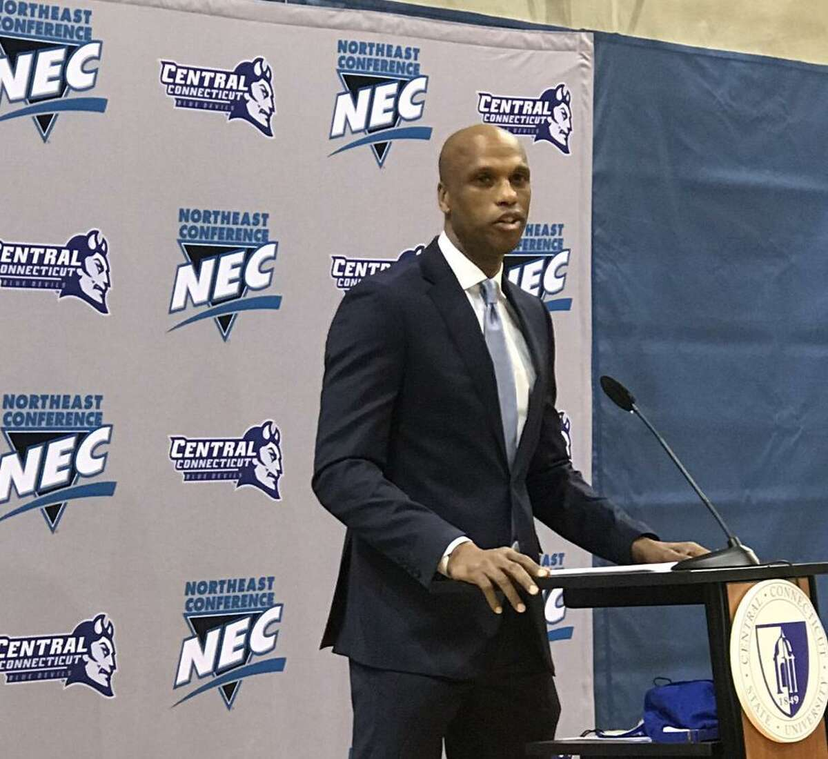 Patrick Sellers introduced as new Central Connecticut State basketball coach.