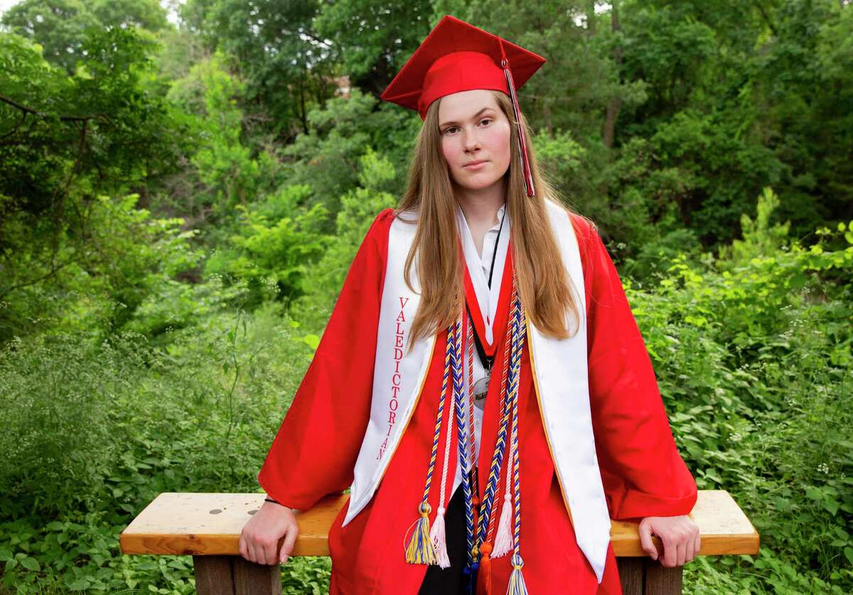 Paxton Smith, Lake Highlands High School valedictorian, poses for a photo, Wednesday, June 2, 2021, in Dallas. Smith scrapped a speech approved by her school administrators and delivered an abortion rights call in its place. (Juan Figueroa/The Dallas Morning News via AP)