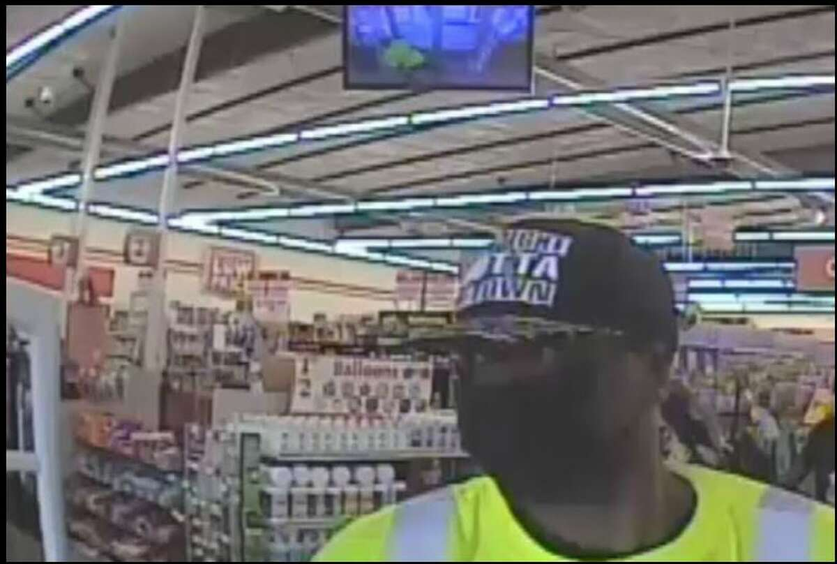 A screengrab of surveillance video of the man police say robbed a store clerk in north Houston on May 21, 2021 on the 1400 block of Gulf Bank. The man fled on his bike afterwards.