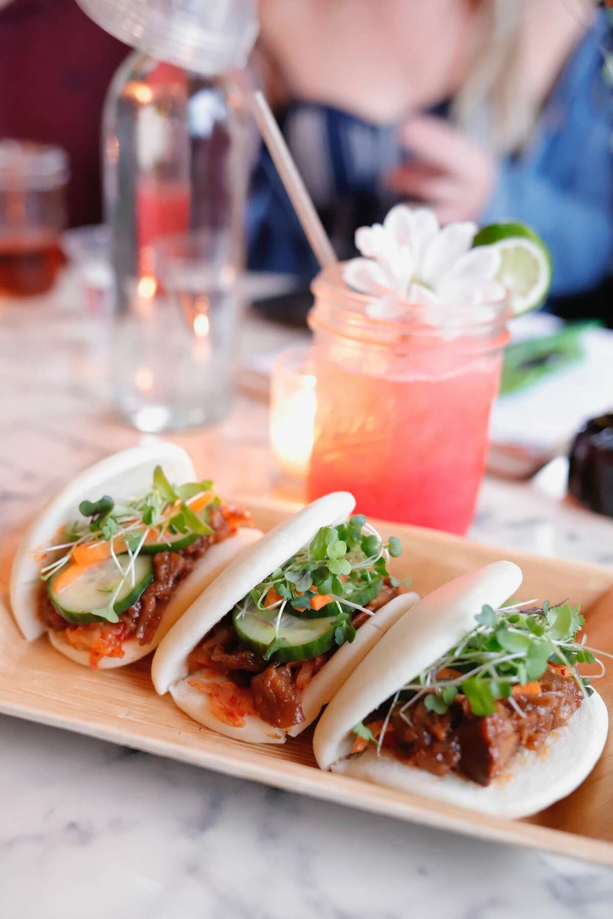 Bao buns with barbecued jackfruit at Troy Beer Garden in Troy. (Konrad Odhiambo/for the Times Union.)