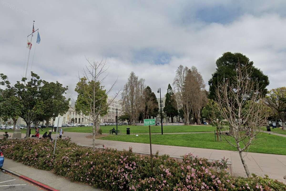 The park near Berkeley's City Hall.