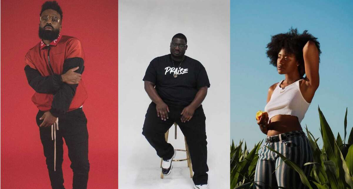 5 Houston artists you should listen to in June. (Courtesy, Tre'Voy Kelly/AP The Gawd/Jenni Ochoa)