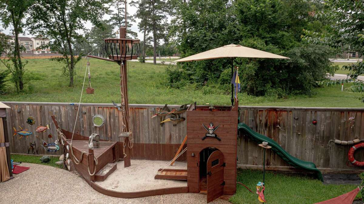 Michael Knight designed and built an elaborate, 18-foot pirate ship/castle playground for his grandkids after his partner Terri Clifton asked him to build a sandbox.