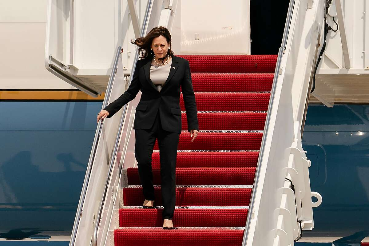 Vice President Kamala Harris disembarks Air Force Two at Joint Base Andrews in Maryland on Sunday, June 6, 2021, after the plane had mechanical issues on her way to Guatemala and Mexico for her first foreign trip in office.