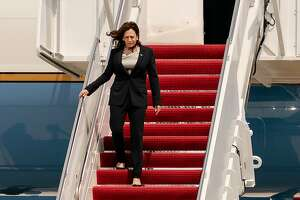 Vice President Kamala Harris disembarks Air Force Two at Joint Base Andrews in Maryland on Sunday, June 6, 2021, after the plane had mechanical issues on her way to Guatemala and Mexico for her first foreign trip in office. (Erin Schaff/The New York Times)