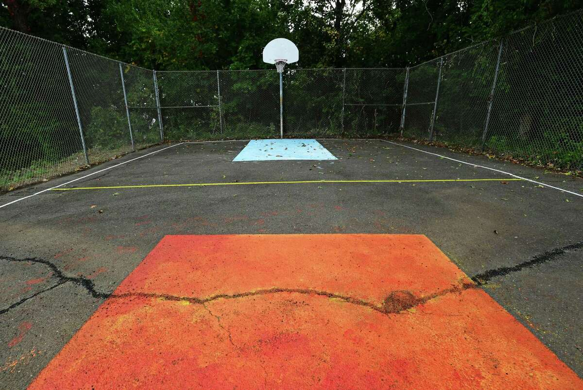 The upper basketball court at Meadow Gardens housing complex in Norwalk, Conn.