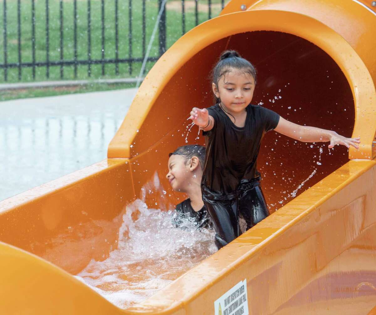 After years of inactivity due to contamination, the pandemic and maintenance, Midlanders are able to have fun and cool off in the Splash Pad 06/07/2021 at Dennis the Menace Park. Tim Fischer/Reporter-Telegram