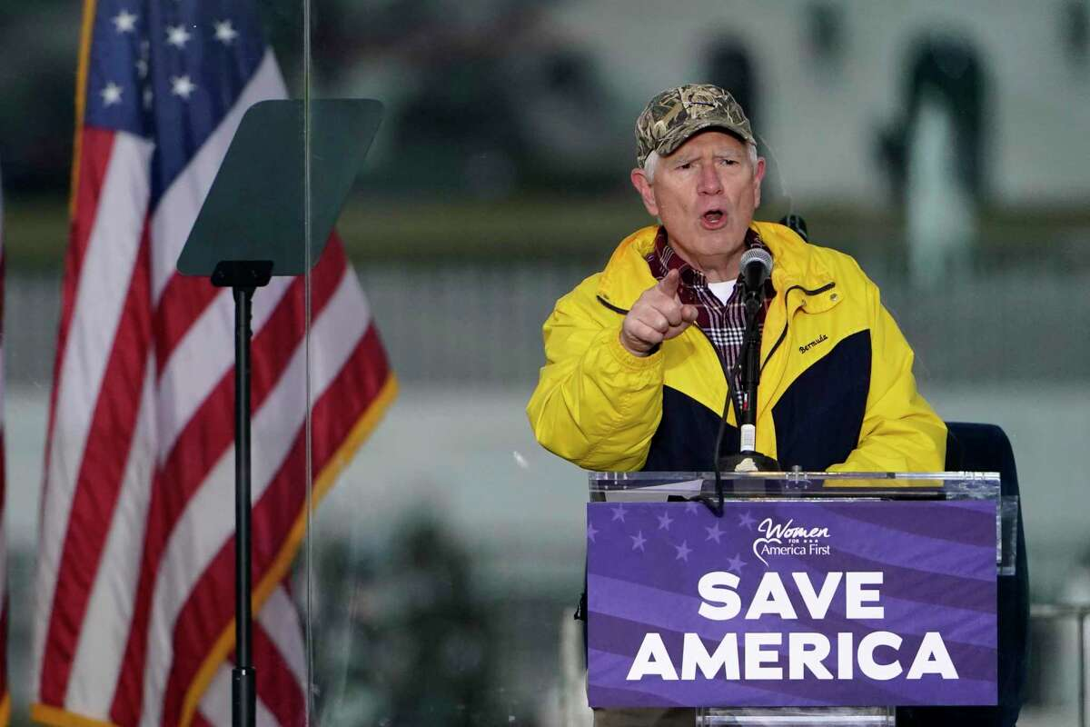 """Rep. Mo Brooks, R-Ala., speaks Wednesday, Jan. 6, 2021, in Washington, at a rally in support of President Donald Trump called the """"Save America Rally."""""""