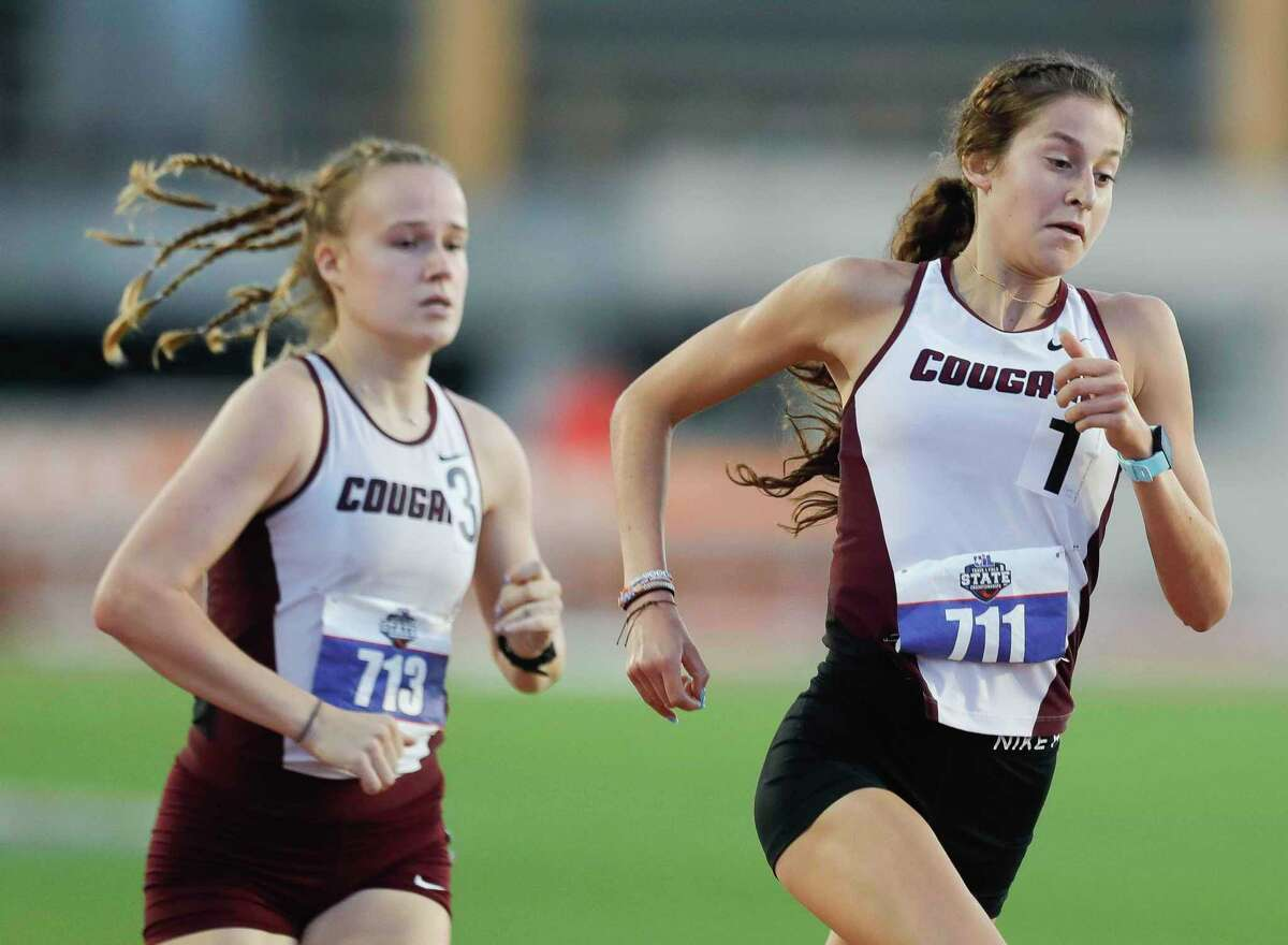 Cinco Ranch's Sophie Atkinson, right, and Heidi Nelson compete in the girls 1,600-meter run during the Class 6A UIL Track and Field Championships at Mike A. Myers Stadium, Saturday, May 8, 2021, in Austin.