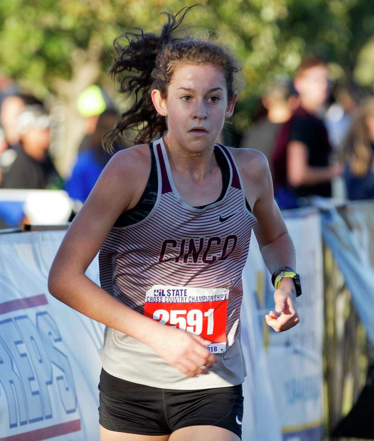 Sophie Atkinson of Cinco Ranch competes in the Class 6A girls race during the UIL State Cross Country Championships, Saturday, Nov. 3, 2018, in Round Rock. Atkinson finished ninth overall in the race.