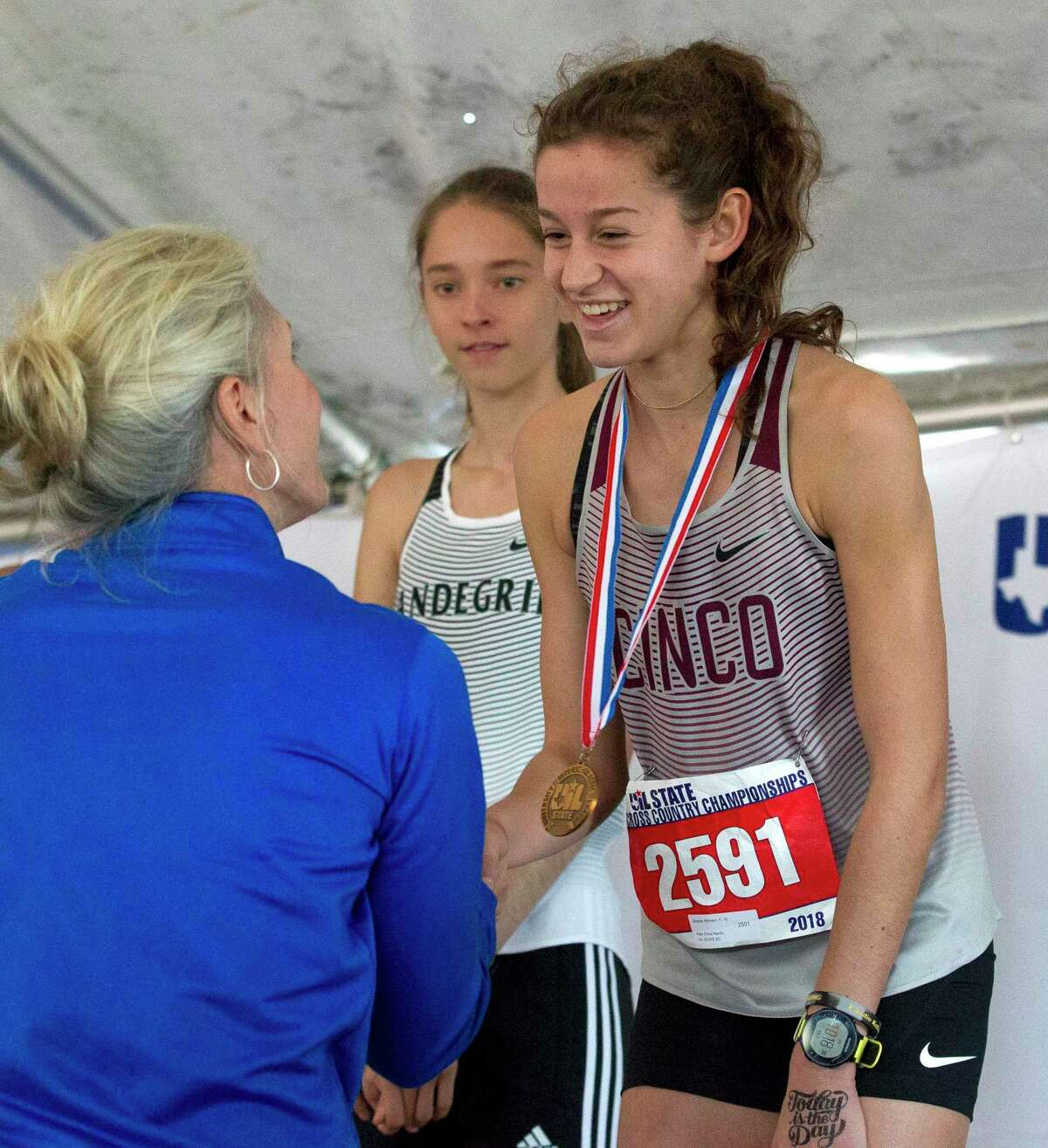 Sophie Atkinson of Cinco Ranch finished ninth overall in the Class 6A girls race during the UIL State Cross Country Championships, Saturday, Nov. 3, 2018, in Round Rock.