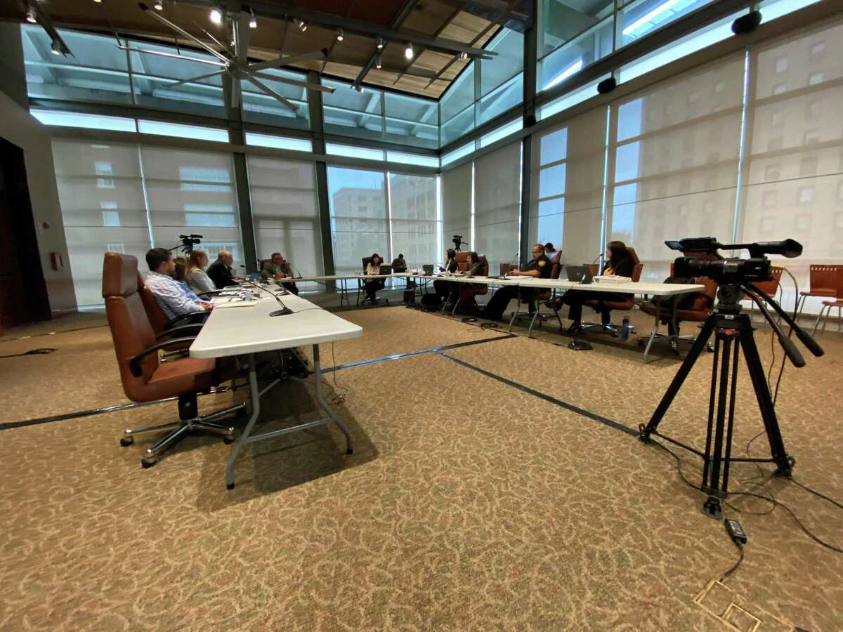Negotiators for the city of San Antonio and San Antonio Police Officers Association meet in talks over the union's upcoming contract on Monday, June 7, 2021.