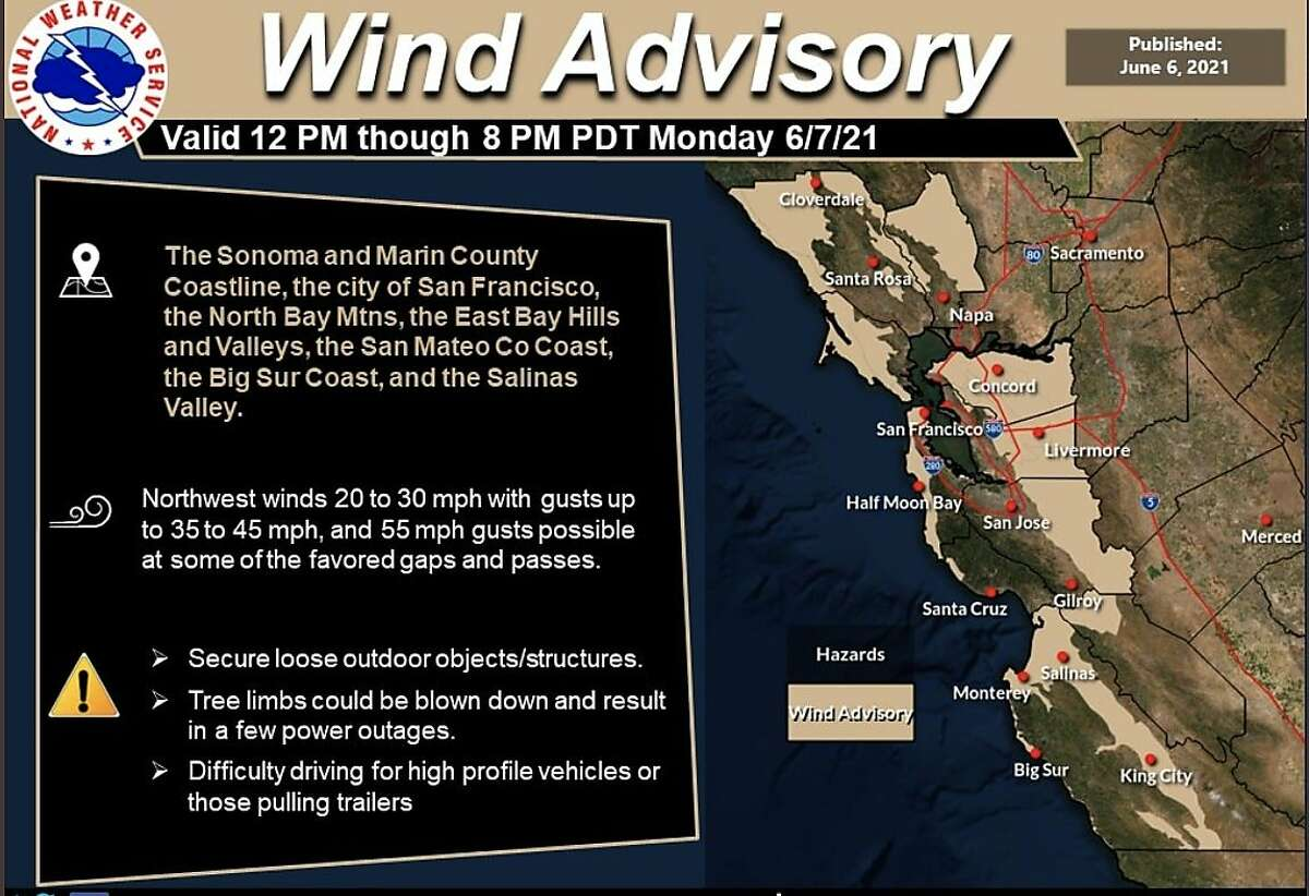 A National Weather Service wind advisory for much of the Bay Area will begin at noon and last until 8 p.m. Winds could gust up to 45 mph in some regions. But higher humidity and cooler temperatures should lessen the risk that the winds could help spark new wildfires, meteorologists said.