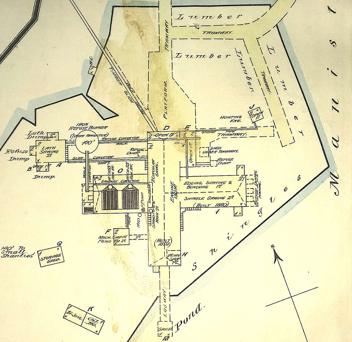 A diagram, taken from the 1883 Sanborn Insurnace Map, of the sawmill of Davies, Blacker & Co. which was formerly located in the eastern section of the city limits off of Vine Street along Manistee Lake.