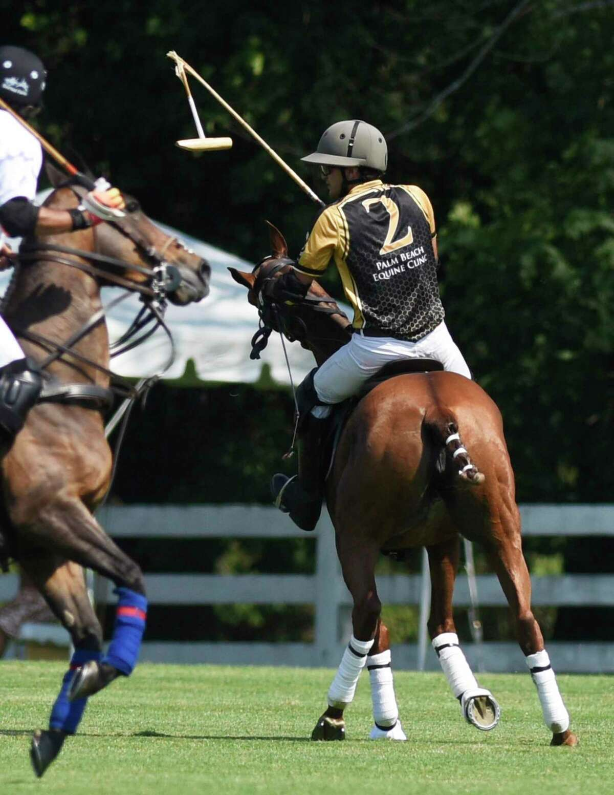 Palm Beach Equine's Constancio Caset has his mallet broken during the season-opening match at the Greenwich Polo Club in Greenwich, Conn. Sunday, June 6, 2021. Level Select CBD played Palm Beach Equine in the East Coast Bronze Cup 2021 match before a sold out crowd.