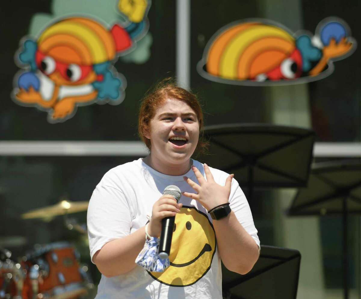 AITE junior Katie Priscott performs a song as Jo from