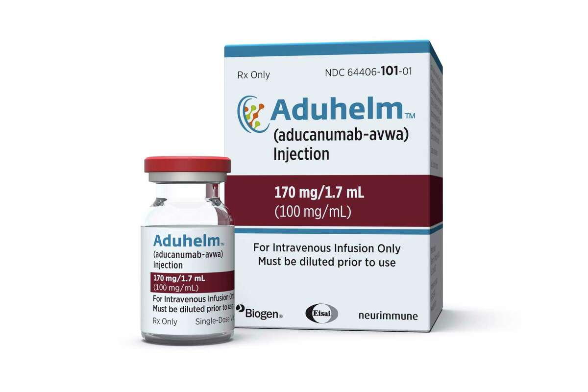 This image provided by Biogen on Monday, June 7, 2021, shows a vial and packaging for the drug Aduhelm.