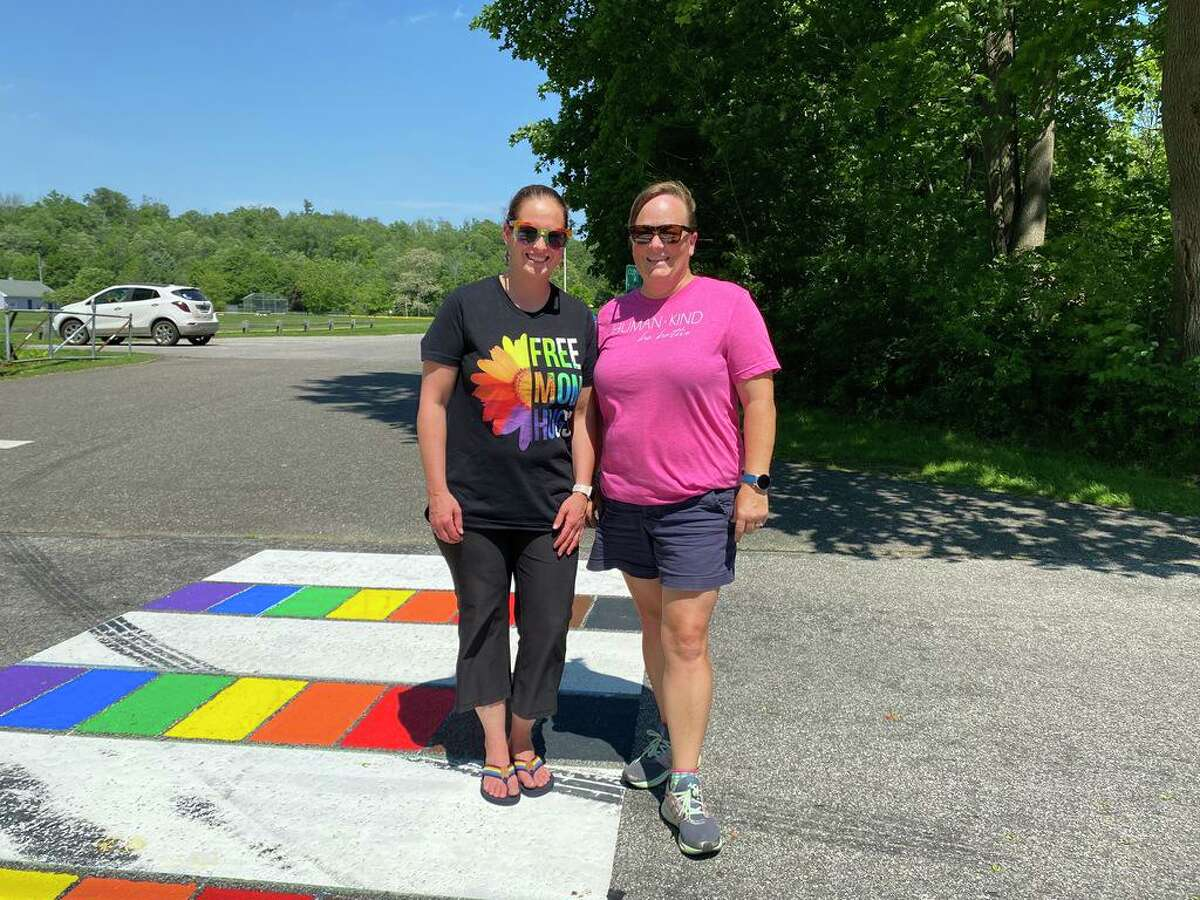 From left, Sarah Carr and Julie Lombardi, who created the Litchfield Pride group in town.