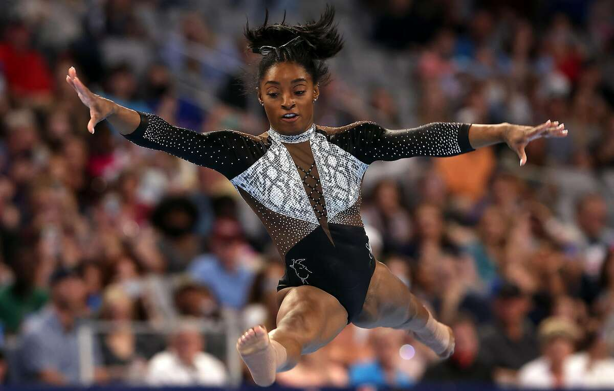 Simone Biles competes in the floor exercise during the Senior Women's competition of the U.S. Gymnastics Championships.