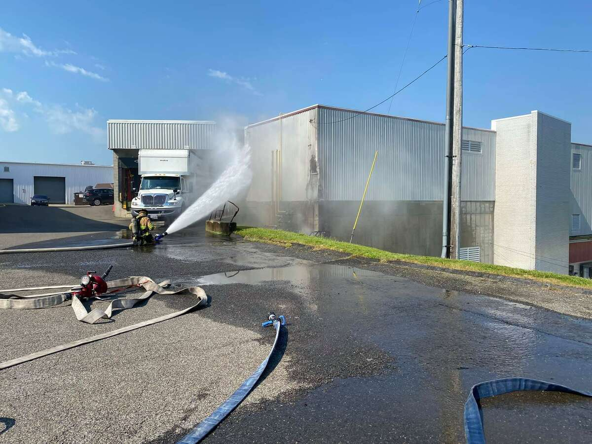 The Milford Fire Dept. fights a fire caused by a ruptured gas line at 500 Bic Drive on Monday, June 7, 2021.
