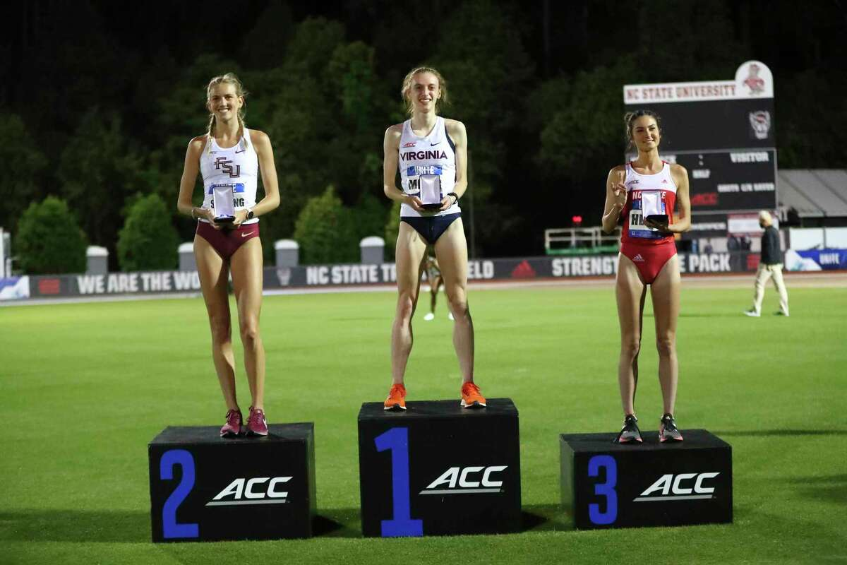 Southbury's Michaela Meyer is competing just this season for UVA as a graduate senior. In her lone season for UVA, she's set the program's all-time 800-meter and 1500-meter records in outdoor track and field.