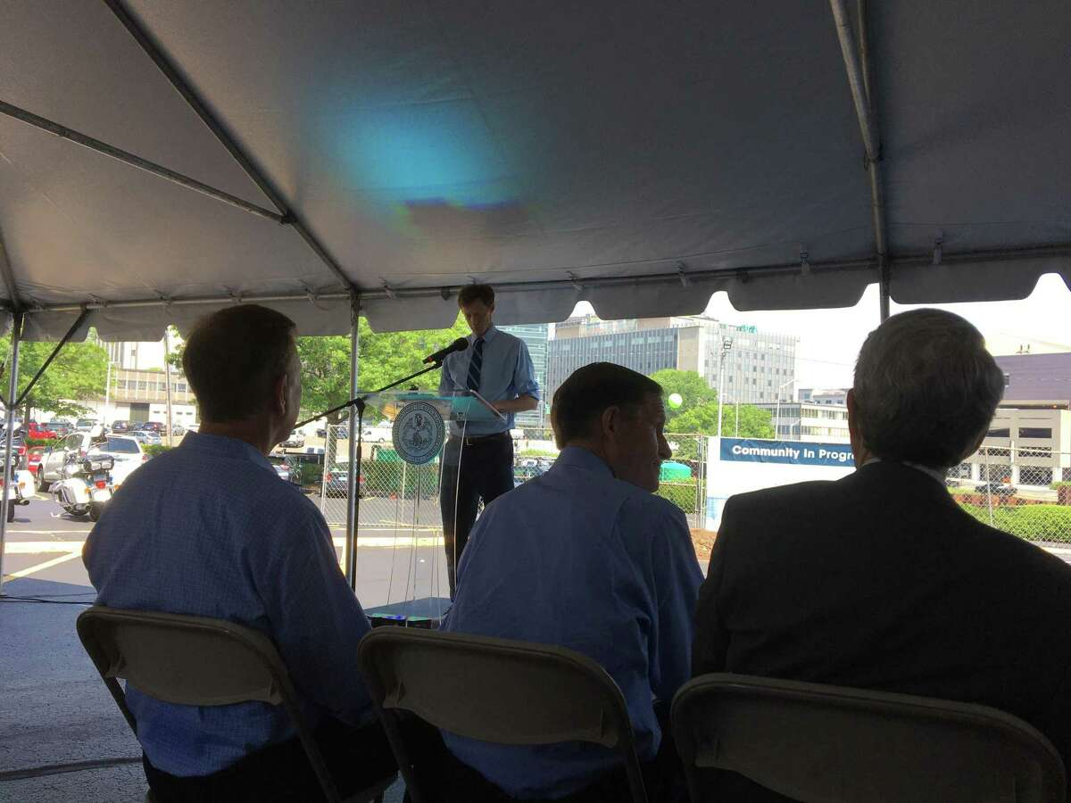 New Haven Mayor Justin Elicker speaks at the groundbreaking for the 101 College St. building on June 7, 2021. Listening, from left, are Gov. Ned Lamont, U.S. Sen. Richard Blumenthal and Yale University President Peter Salovey