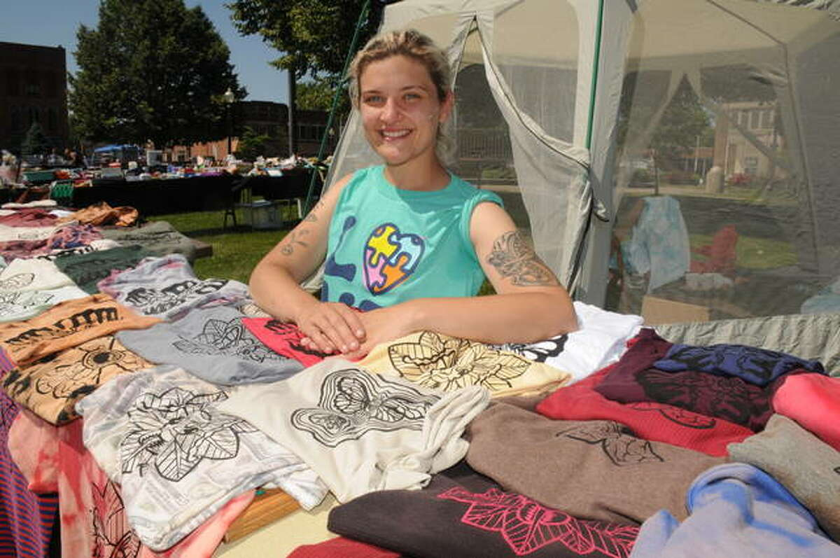 Allison Snider sold her one-of-a-kind, tie-dyed T-shirt designs Saturday on the Carlinville square.