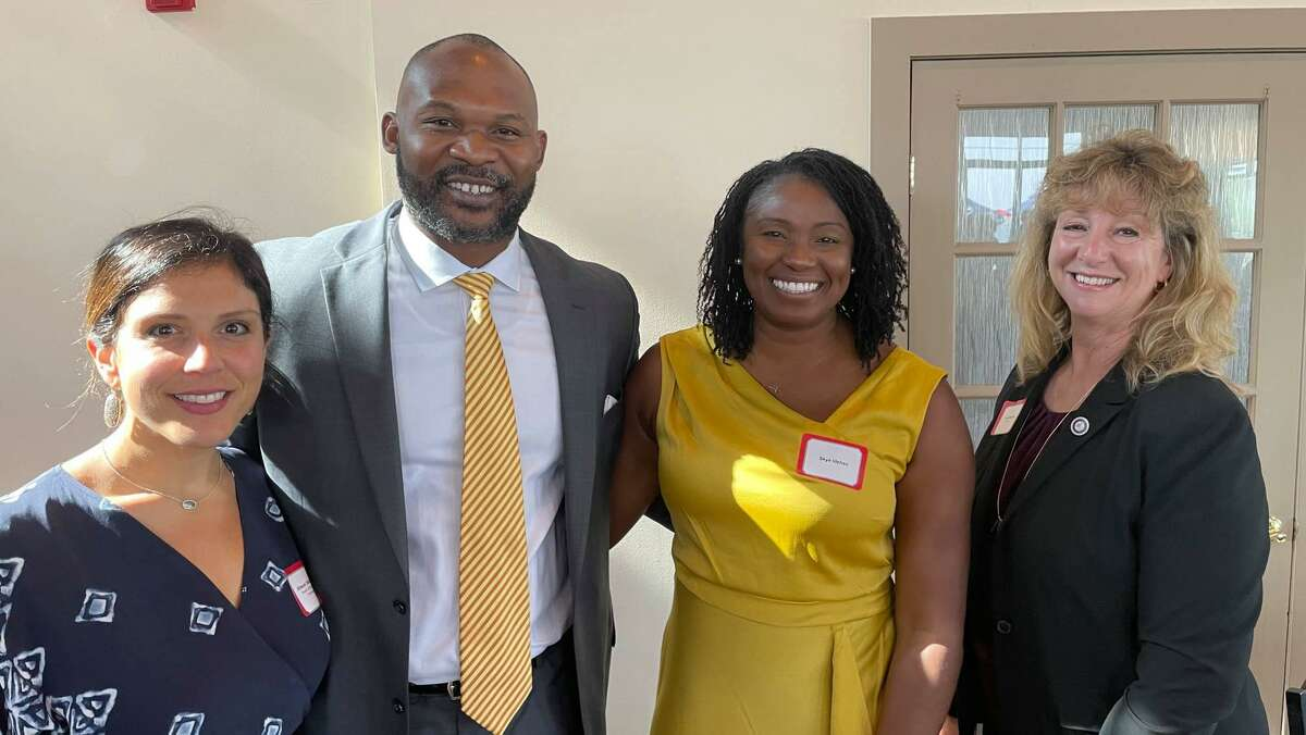 Stratford Board of Education Chairperson Allison DelBene, Superintendent Uyi Osunde, his fiancée Skye Idehen, and Mayor Laura Hoydick at a reception last month.