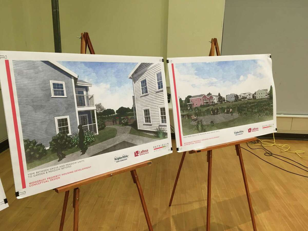 Renderings of a conceptual design proposal for new affordable housing units near downtown Guilford were presented a a public hearing at the Nathanael B. Greene Community Center in February.